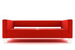 Sofá vermelho isolado no fundo branco Imagens de Stock