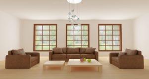 Sofá y butacas de cuero en salón ligero Fotos de archivo libres de regalías