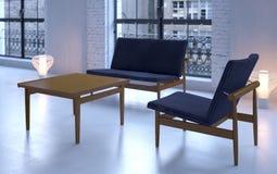 Sofá y silla de la vendimia en desván Imagen de archivo libre de regalías