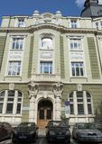 SOFÍA, BULGARIA - 8 DE OCTUBRE DE 2017: el banco de Sofía, señal de la arquitectura del estilo moderno, construyó en 1918 año Imagenes de archivo
