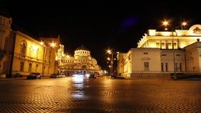 Sofía, Bulgaria en la noche almacen de video