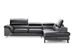 Sofá de couro preto Fotografia de Stock Royalty Free