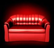 Sofá de couro vermelho. Vetor Imagem de Stock Royalty Free