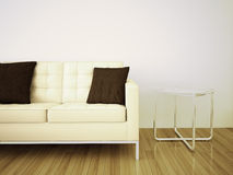 Sofá e tabela interiores modernos mínimos Imagem de Stock