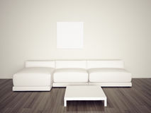 Sofá interior en blanco mínimo Fotos de archivo libres de regalías