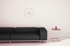 Sofá y tabla interiores modernos mínimos Foto de archivo libre de regalías