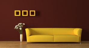 Sofa. Modern yellow sofa with calla-lily flowers render Royalty Free Stock Photography