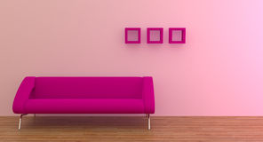 Sofa. Modern interior with purple sofa Royalty Free Stock Photos