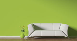 Sofa. Modern white sofa with tulips flowers render Stock Image