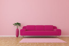 Sofa. Modern pink interior with sofa