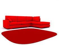 Sofa. And carpet in red tones on a white background royalty free illustration