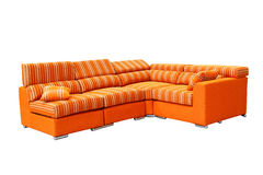 Sofa. Orange-red corner sofa, modern style Stock Photography