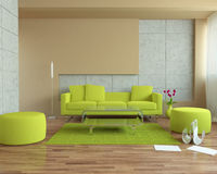 Sofa. Modern urban interior with tulips