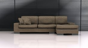Sofa. Computer generated brown sofa with white floor and grayish background Royalty Free Stock Image
