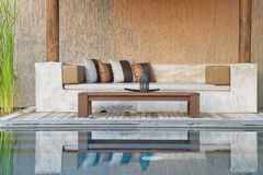 Sofa. And pool in modern style Royalty Free Stock Image
