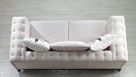 Sofa. Top view beige modern sofa Stock Photography