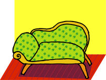Sofa. A vector, illustration for a sofa with green leaves texture on it Royalty Free Stock Photo