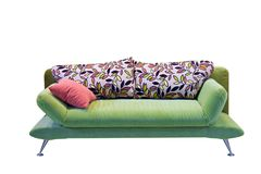 Sofa. Green sofa isolated with clipping path Royalty Free Stock Photo