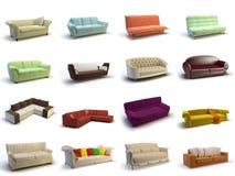 sofa 3d stock illustrationer