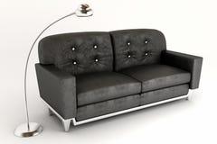 sofa 3d avec la lampe Photographie stock libre de droits