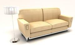 sofa 3d avec la lampe Images stock