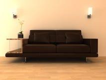 sofa 3d en cuir brun Images libres de droits
