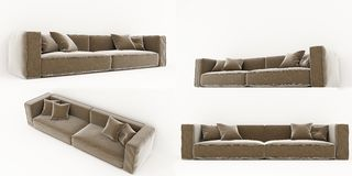 Sofa 3D rendering on white background. 3D rendering of the brown sofa Royalty Free Stock Image