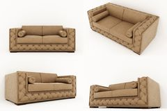 Sofa 3D rendering on white background. 3D rendering of the brown sofa Stock Image