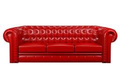 sofa 3d rouge en cuir Photographie stock libre de droits