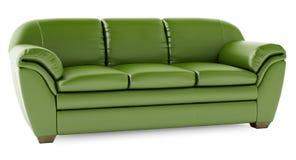 sofa 3D vert sur un fond blanc Photographie stock libre de droits