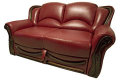 Sofa. Red leather sofa on white Stock Photography