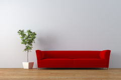 Sofa. Modern red sofa with plant render