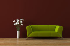 Sofa. Modern olive green sofa with cala-lily flowers render Royalty Free Stock Photography