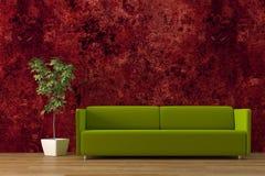 Sofa. Modern olive green sofa with treerender Royalty Free Stock Photo