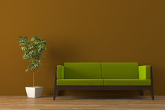 Sofa. Modern green sofa with plant render Royalty Free Stock Image