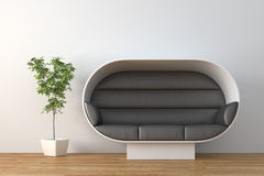 Sofa. Modern black leather sofa with plant render Stock Images