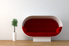 Sofa. Modern sofa with plant render Stock Images