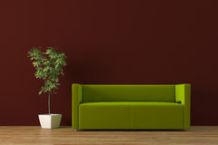Sofa. Modern sofa with plant render Stock Image