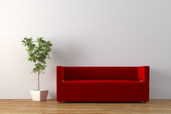 Sofa. Modern sofa with plant render Royalty Free Stock Images