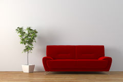 Sofa. Modern sofa with plant render Royalty Free Stock Photos