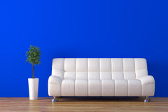 Sofa. Modern sofa with plant render Royalty Free Stock Photo