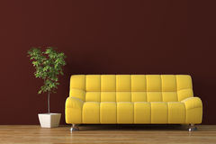 Sofa. Modern sofa with plant render Royalty Free Stock Photography