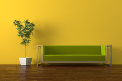 Sofa. Modern olive green sofa with plant render