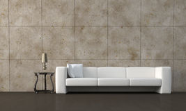 Sofa. Modern white leather sofa and marble wall render