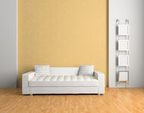 Sofa. In the living room 3D vector illustration