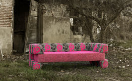 Sofa in abandoned rural place Royalty Free Stock Photos