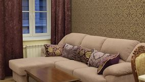 Sofa in apartment. Sofa at living room in apartment shot stock footage