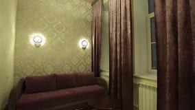 Sofa in apartment. Pan shot stock video