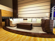 Sofa area of a modern living room. By 3D rendering Stock Images
