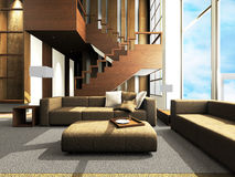 Sofa area of a modern living room. By 3D rendering royalty free illustration